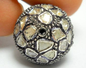 Victorian style Rose cut Pave diamond large polki diamond 20mm bead Ball jewelry making / jewelry finding/ bracelets and necklace - PJBE2013