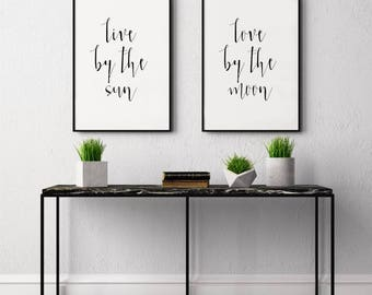 Live by the Sun, Love by the Moon, Script Font Wall Art, Printable Art, Two Panel Illustration, Double Panel Wall Art, Sun and Moon Poster