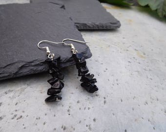 Obsidian chip drop earrings