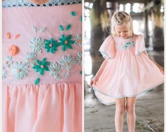 girls dress baby girl toddler dress birthday tea party girly flutter vintage pink lace flowers aqua  turquiose handmade cotton twirl dress