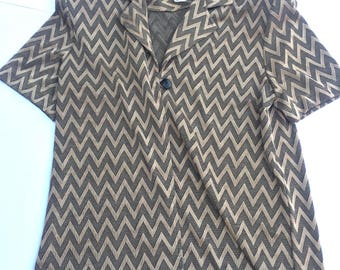 Vintage 80s Karin Stevens Gold and Black Women's Blouse. Size 6