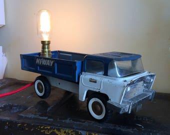 Vintage,Retro,1950's, Triang, pressed metal, truck, lamp, unusal,unique,gift.