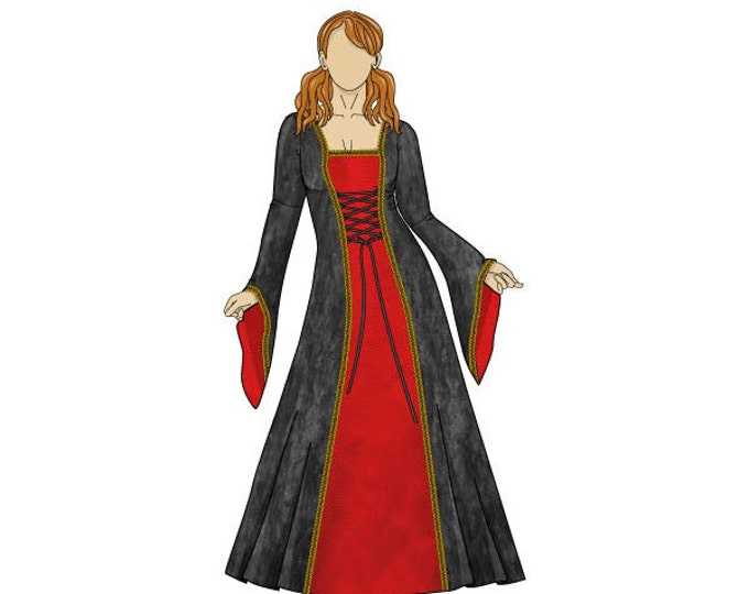 Featured listing image: Anastasia Medieval Dress Sewing Pattern - Sizes 8-22 UK - Download PDF