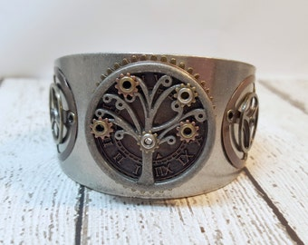 Steampunk Tree of Life Steampunk Cuff Bracelet, Tree of Knowledge, Steampunk Jewelry, Gifts for Her, Family Tree, Cosplay Jewelry