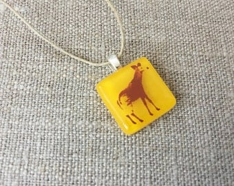 Okapi Pendant Glass Jewelry Necklace of Fused Glass by Happy Owl - african animal safari brown yellow cute kids jewelry