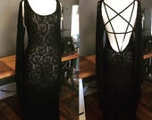 Baphomet pentagram backless dress in lace or jersey