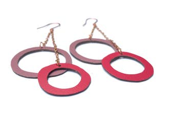 CLEARANCE SALE 50% off // Long hoops earrings, long chain and circles earrings, playful shoulder duster earrings, light bold summer earrings