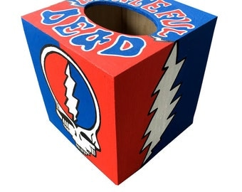 Grateful Dead Tissue Box Holder Hand Painted