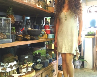 Love. Hysteria. Tank dress in organic hemp jersey (mini length). Made to order.
