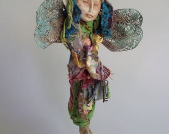Blue Dragonfly Moon, Figurative Sculpture,  Assemblage art,  Bohemian  art, Eco Botanical , Polymer Art Doll ,by Griselda