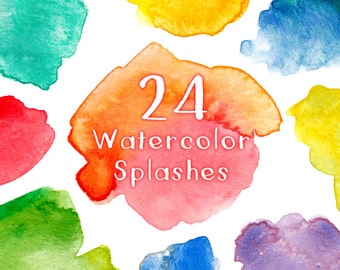 Watercolor Clipart, Hand Painted Textures, Digital Clipart, Scrapbooking, Watercolor Splash, Watercolour Clipart, Instant Download, 24 files