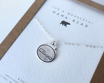 Mama Bear & 3 Baby Bear Cubs Charm Necklace