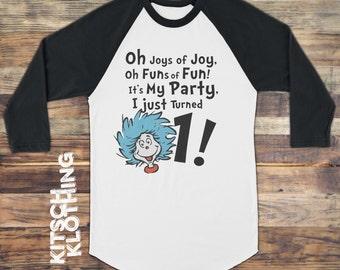 1st Birthday Shirt   Dr Seuss Inspired Raglan   Thing 1 Thing 2 Tshirt   Birthday T-shirt   Custom Birthday Shirt - First Year - AR-105
