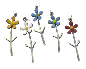 Daisy Necklace, Flower Necklace, Colorful Enameled Flower with Stem by Kathryn Riechert
