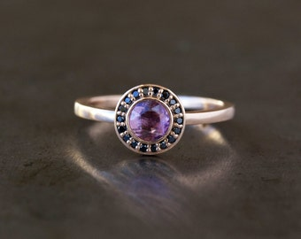 Pink Sapphire Halo Ring, Unique Engagement Ring, Black Diamond Halo, Rose Cut Pink Sapphire, 14k Rose Gold Band, Ecofriendly Conflict Free