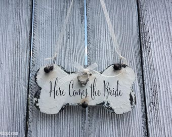 RING BEARER PILLOW Alternative | Wedding Ring Holder | Here Comes the Bride | Chalk Board Sign | Dog Bone | Wedding Ceremony Ideas | Rustic