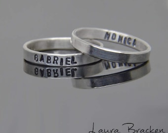 One Personalized Name Ring Band Sterling Silver