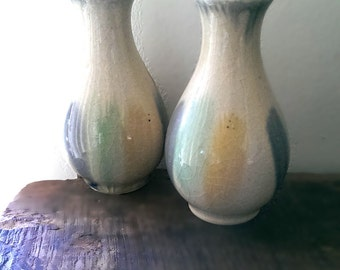 Two Vintage Bud Vases, Ceramic, Handmade, Glazed, Rustic, Home Decor, Small Pot, Clay, Farmhouse, Crazed, Soft Pastel