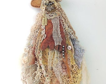 Angel Flapper Girl, Wall Hanging, Wall Decor, Antique Lace, Shabby, Tattered, Boho, Home, Art Doll