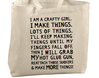 Crafter Tote Bag Craft Bag Portable Craft Storage Supplies Carry All Mail Bag Funny Tote Crafty Girl Quote Big Canvas Tote Art Supply Bag