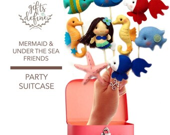 Set of 1 Mermaid  3 Fish Under the Sea in Party Suitcase, Custom Reusable Party Favor, Cake Topper, Decor for Baby Shower, Birthday, Wedding