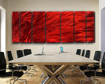 Extra Large Multi Panel Modern Metal Wall Art In Red, Contemporary Wall Sculpture, Abstract Fire Painting  - Dragons Breath XL by Jon Allen