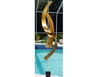 Gold Abstract Sculpture, Large Metal Yard Art, Indoor-Outdoor Home Decor, Contemporary Garden Art - Gold Maritime Massive by Jon Allen