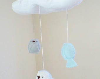 Baby mobile - nursery decoration - blue, grey and white - cloud mobile - bird mobile