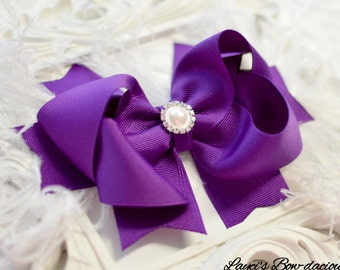 Sugar Plum Sassy Bow with Spikes - Choose Bow or Headband - large bow with feathers - girls bows - bows with spikes