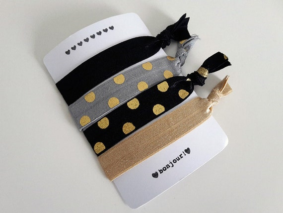 Set of 4 hair ties - elastics - no crease hair ties - stretch bracelets - gray - dots - gold - black - party favor - favor gift - dK03