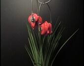 E1509 Coral Hoop style long earrings