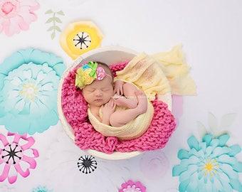 Bubble Gum Pink - Mini Prop Blanket newborn baby photography props basket filler stuffer bright