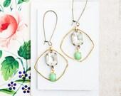 Large Hoop Earrings,  Crystal Earrings, Boho Jewelry Ideas, Green Earrings, Gypsy Earrings, Gift for Wife, Bohemian Jewelry