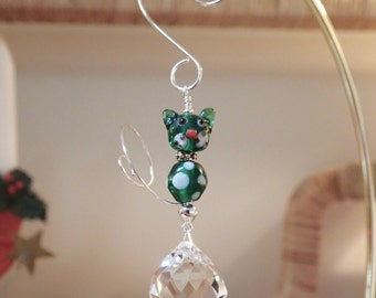 2 Bead Kitty Cat Crystal Suncatcher with Tail Green