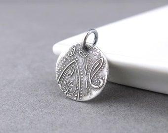 Small Silver Charm Paisley Pendant Silver Circle Charm Interchangeable Add On Pendant Boho Chic Pendant