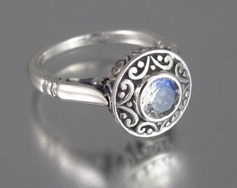size 5.5 Ready to Ship The SECRET DELIGHT silver ring with Moonstone and white sapphires