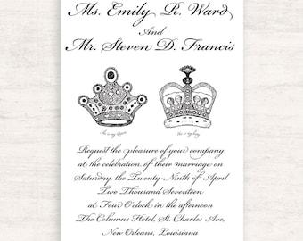Royal Crown Wedding Invitation Suite / King and Queen Crown wedding / Formal Invitation / Print at home / Printable Invitation Suite