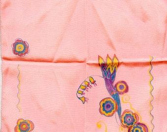 Vintage HAND PAINTED Art Deco Hankie Handkerchief Hankerchief 3334
