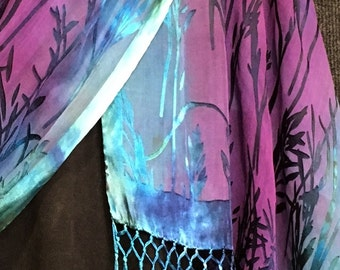 Hand Dyed Shawl or Large Scarf in Bamboo Burn Out Pattern with Fringe in Blues and Purples