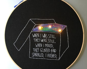 Box of Stars - William Faulker inspired hand embroidered wall hanging / hoop art with LEDs