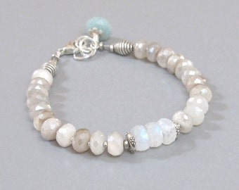 Mystic Rainbow Moonstone Bracelet Sterling Silver Amazonite Bead DJStrang Boho Cottage Chic White Blue