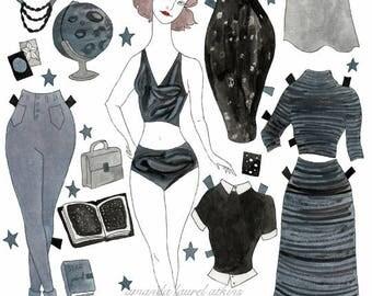 Celeste who Studies Stars paper doll
