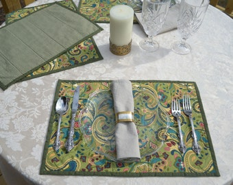 Quilted Placemats - Set of Four in a Green Art Nouveau Pattern