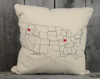 Heart Strings Map Pillow Personalized present for boyfriend girlfriend husband wife
