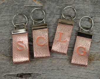 Rose Gold Leather Key Fob with Stamped Initial Monogram Key Chain Gift for Women
