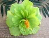 Green Hibiscus Hair Clip, PinUp Tropical Hair Clip , Hawaiian Hair Clip