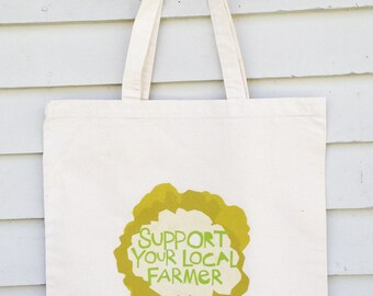 Canvas tote bag Support your local farmer Cauliflower