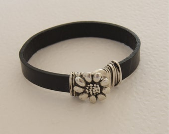 Flower Leather Bracelet Womens Leather Bangle Stackable Black Leather Bangle Modern Jewelry Flat Leather