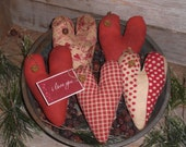 5 Primitive Rustic Assorted Red Print Valentine's February 14 Heart I Love You Hearts Bowl Fillers Ornies Ornaments Tucks