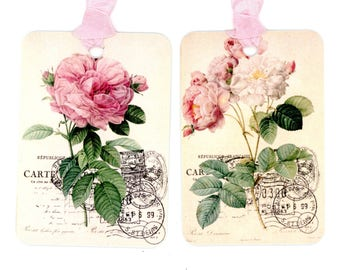 Vintage Pink Rose Tags , Redoute Roses , Pink Rose Gift Tags , French Roses , Bluebird Lane Tags , Shabby Wedding Tags , Labels , Rose Tags